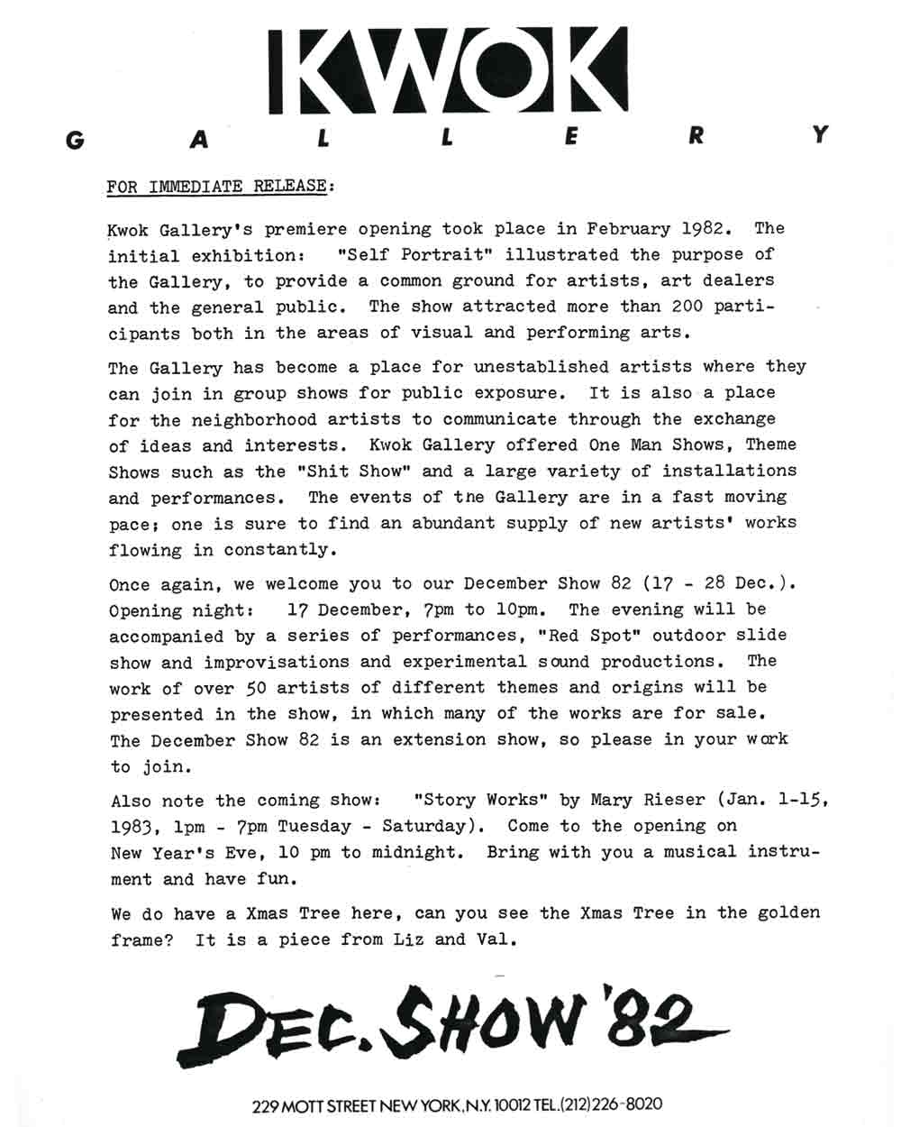 December Show press release, pg 1