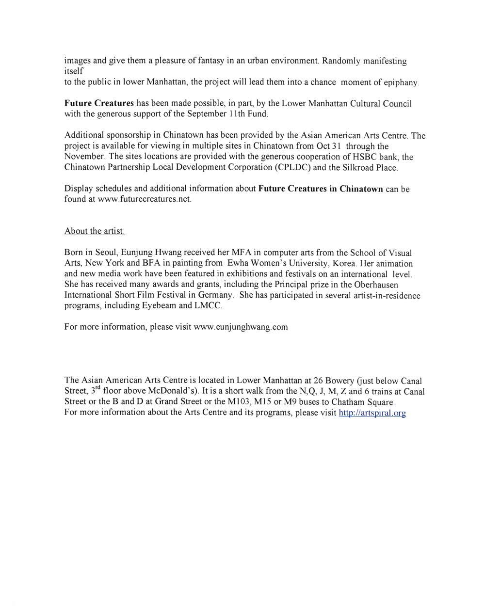 Future Creatures, press release, pg 2