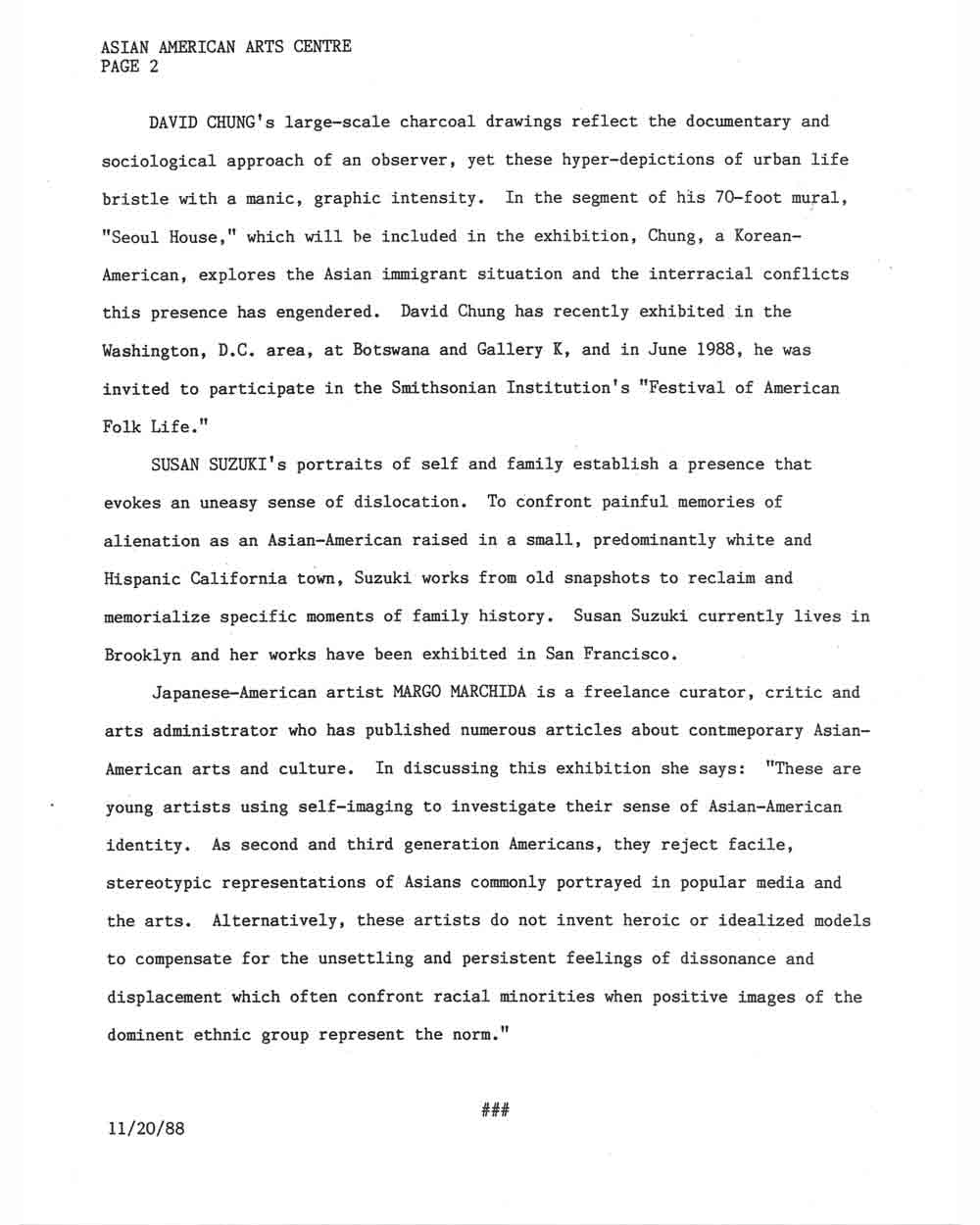 Invented Selves: Images of Asian-American Identity, press release, pg 2