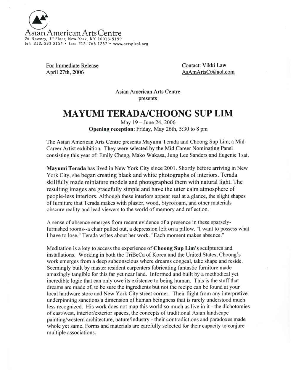 Mayumi Terada/Choong Sup Lim, press release, pg 1