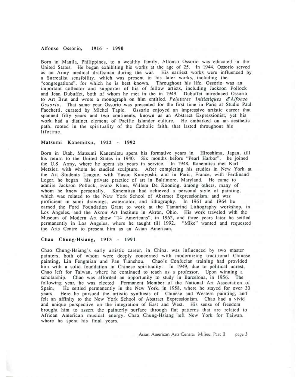 Milieu: Part II 1945-1965, press release, pg 3