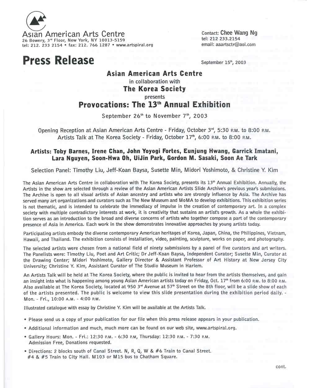 Provocations, press release, pg 1