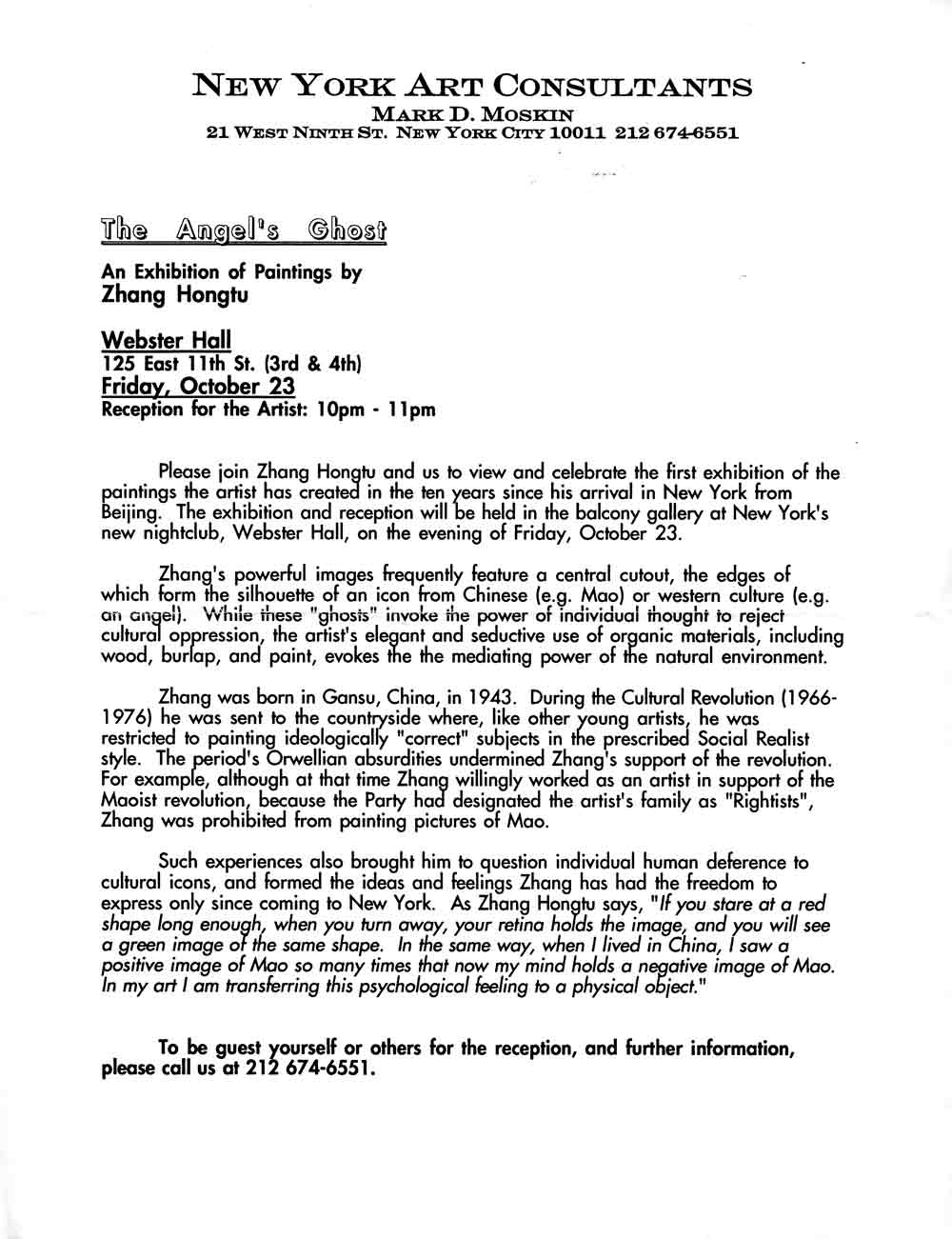 The Angel's Ghost press release