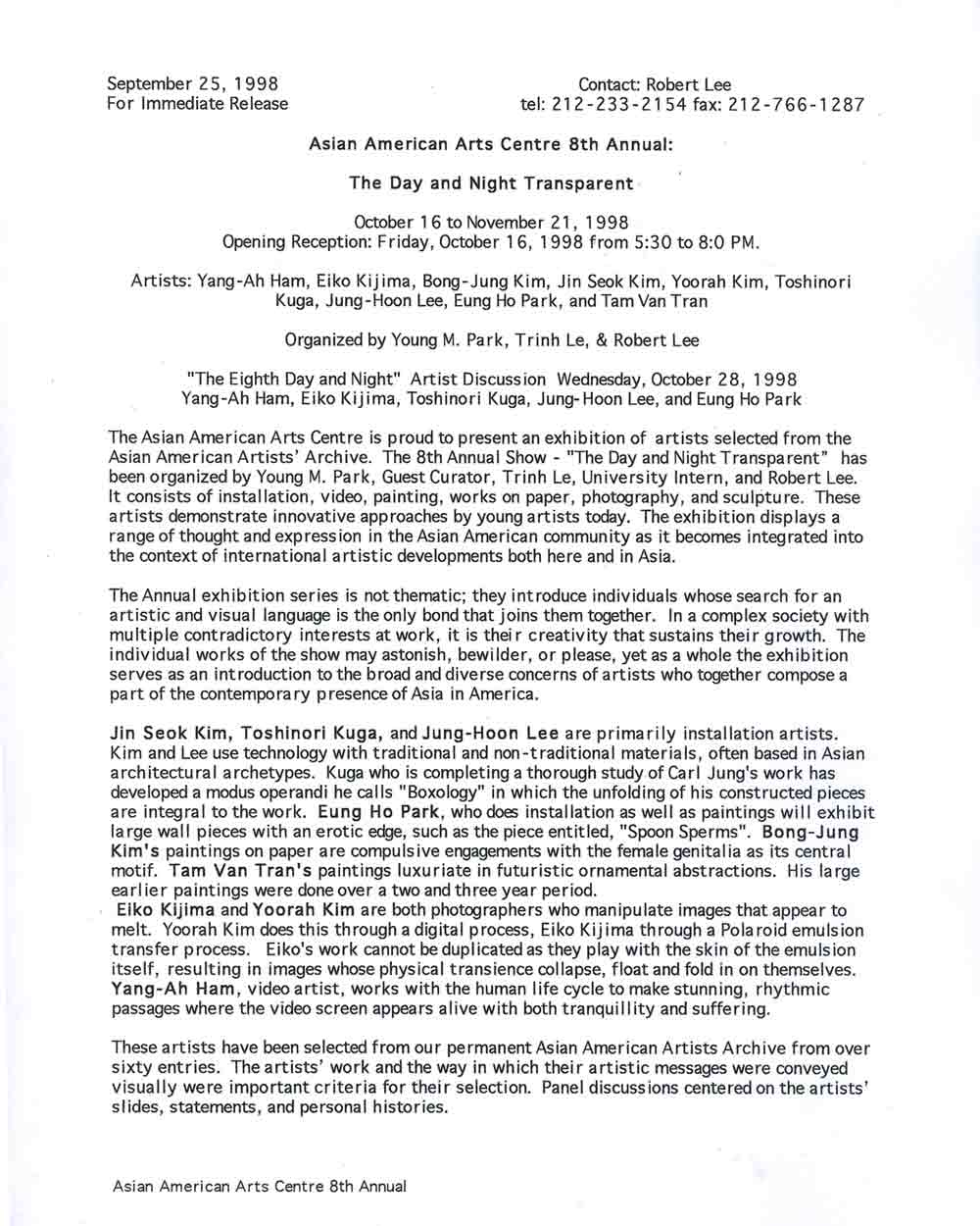 Day and Night Transparent press release, pg 1