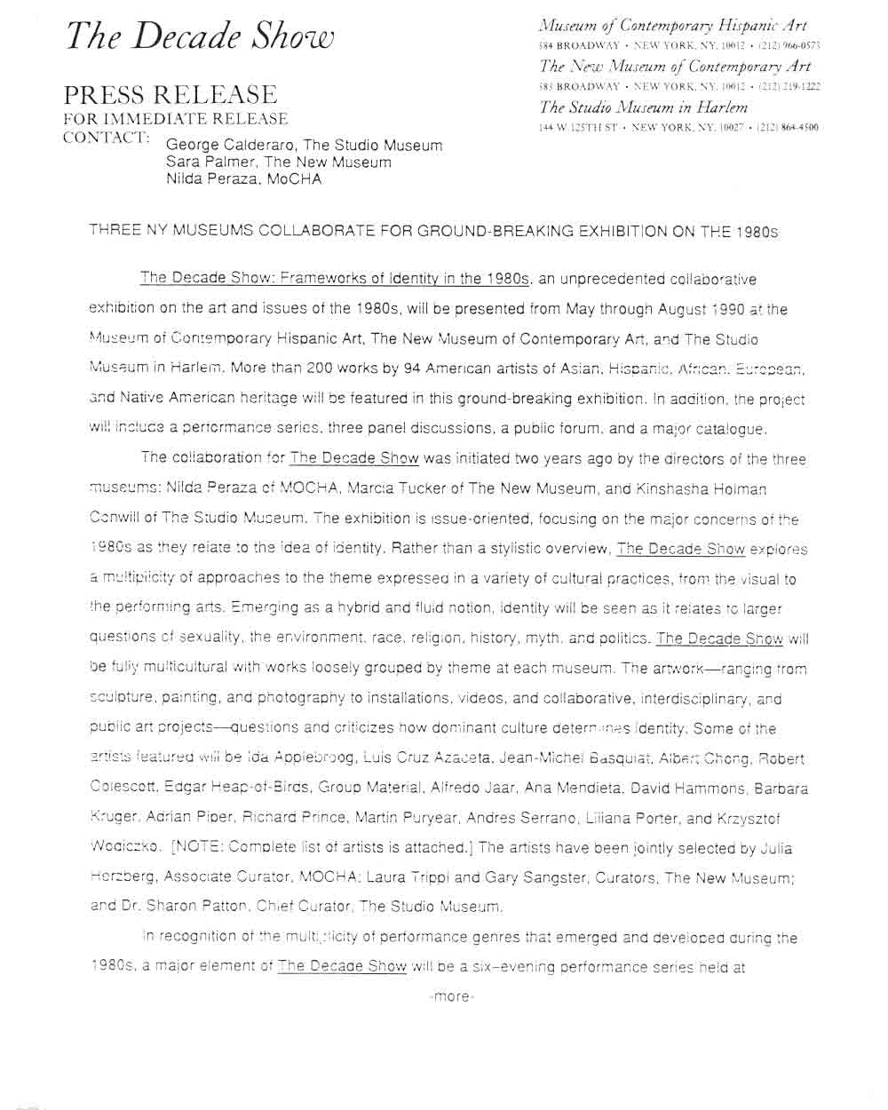 The Decade Show, press release, pg 1