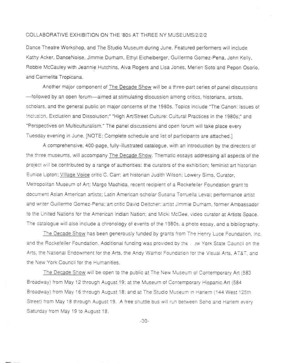 The Decade Show, press release, pg 2