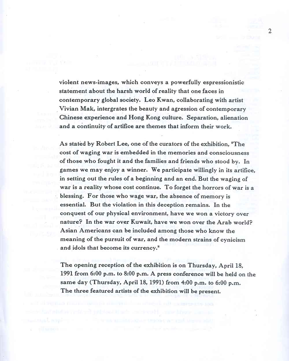 Victory of Violence press release, pg 2
