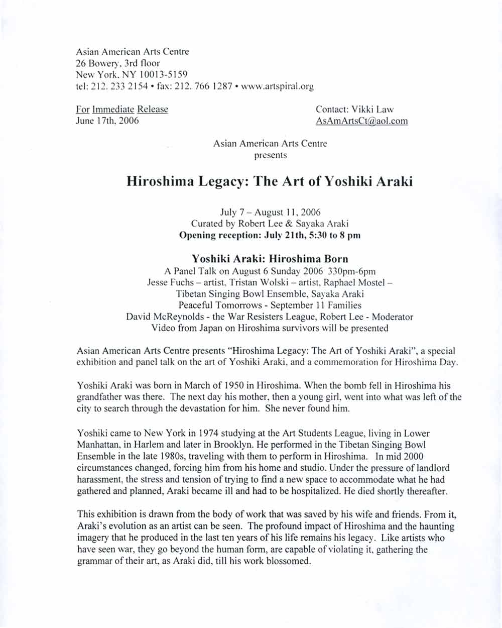 Hiroshima Born press release, pg 1