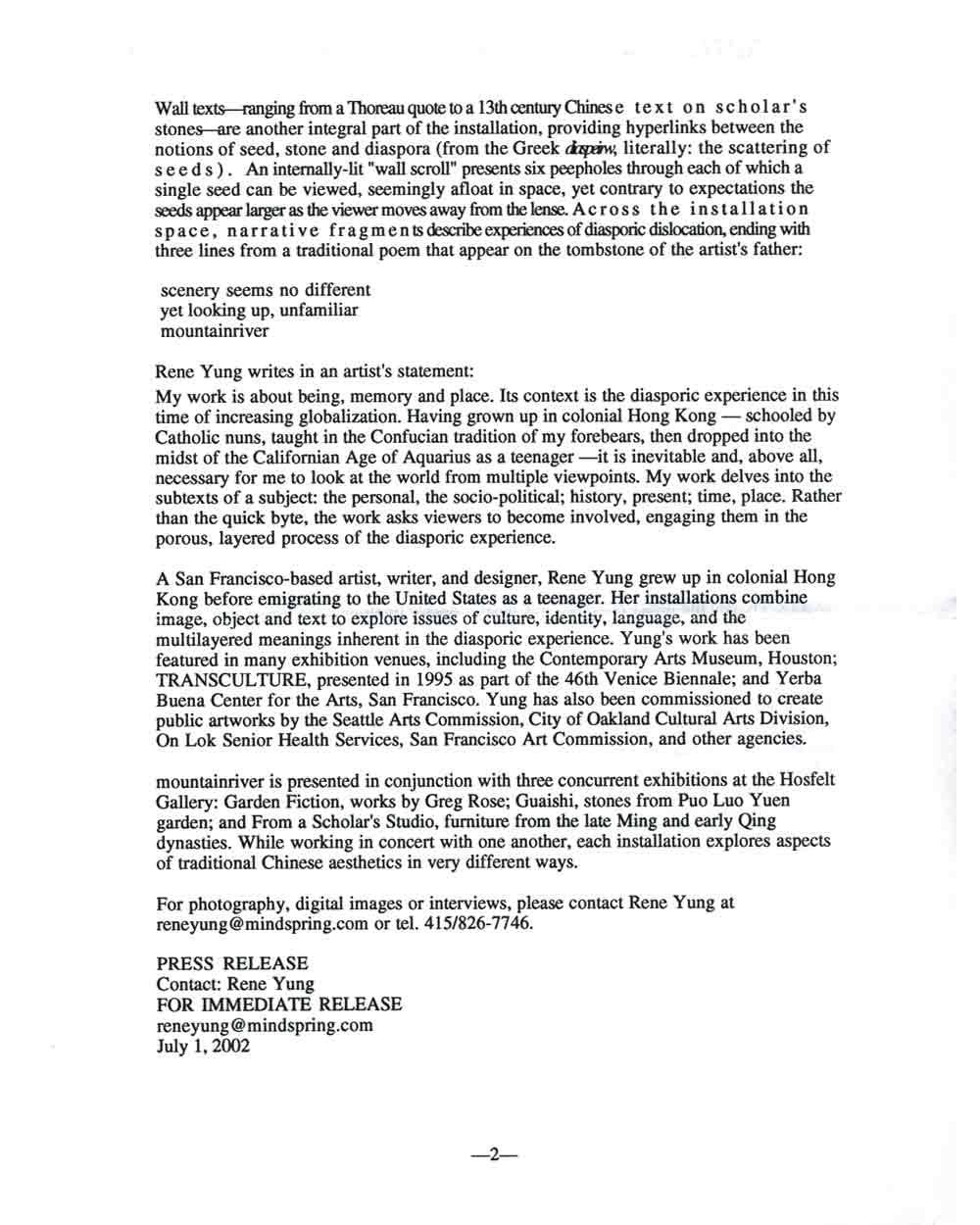 mountainriver, press release, pg 2