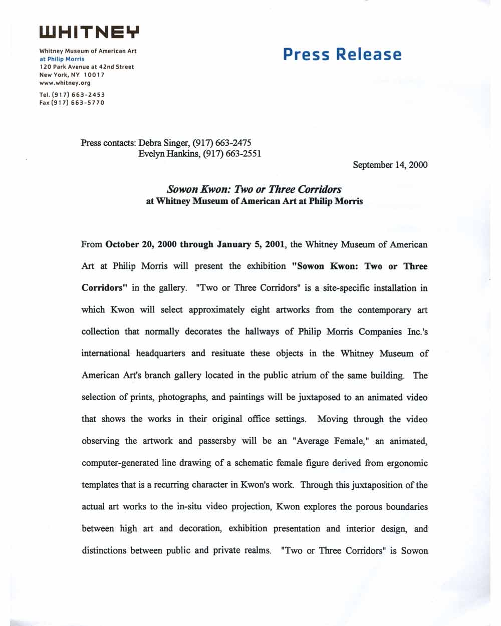 Sowon Kwon: Two or Three Corridors, press release, pg 1