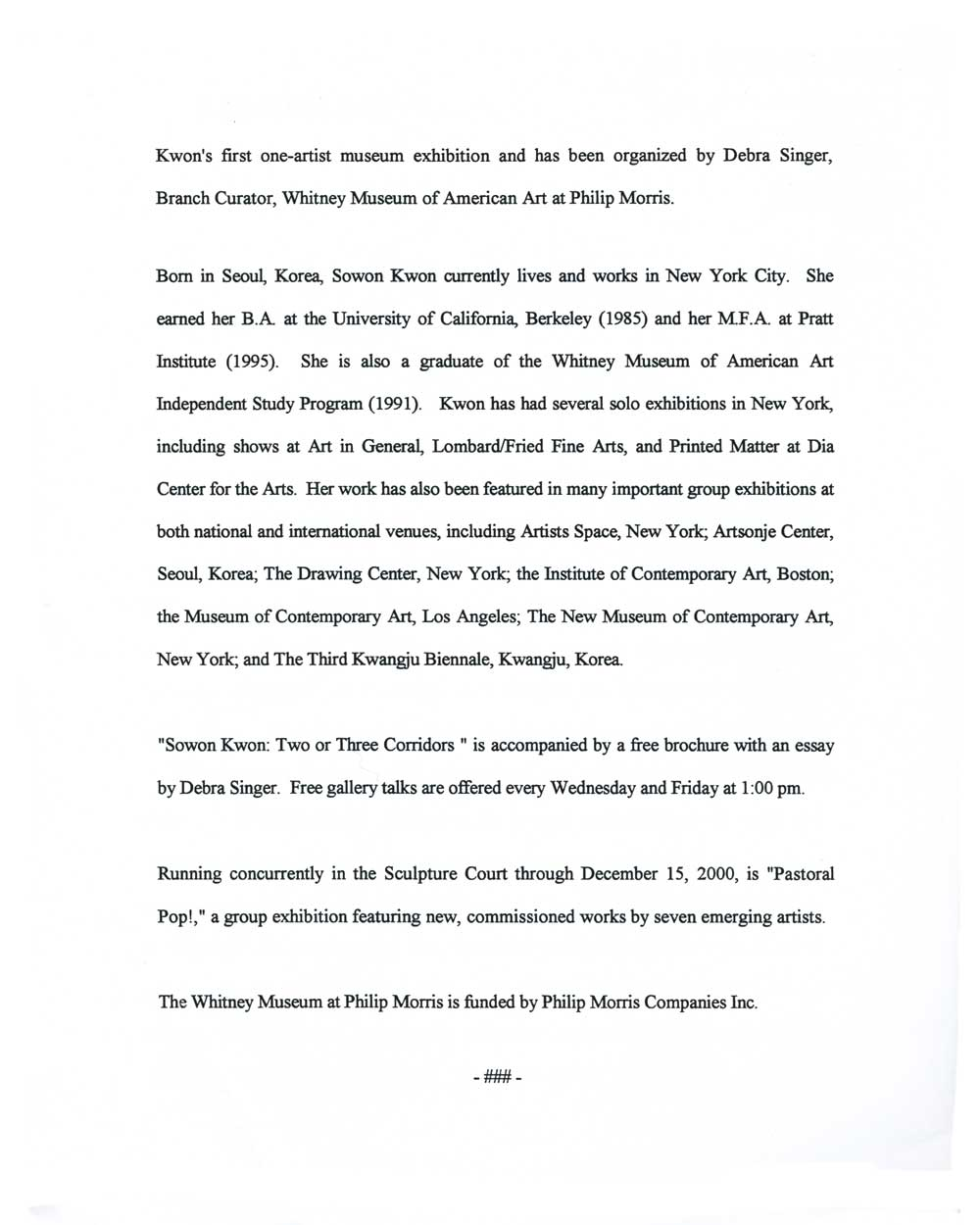 Sowon Kwon: Two or Three Corridors, press release, pg 2