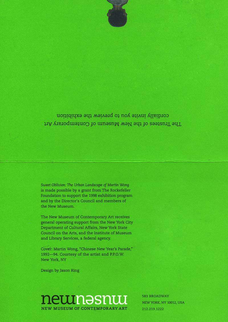 Sweet Oblivion: The Urban Landscape of Martin Wong, flyer, pg 2