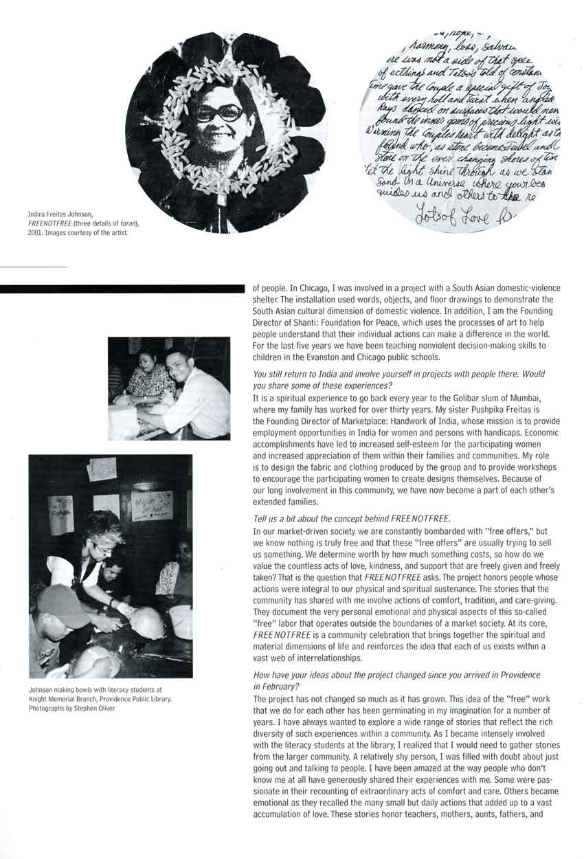 FREE NOT FREE: an installation by Indira Freitas Johnson, interview, pg 2