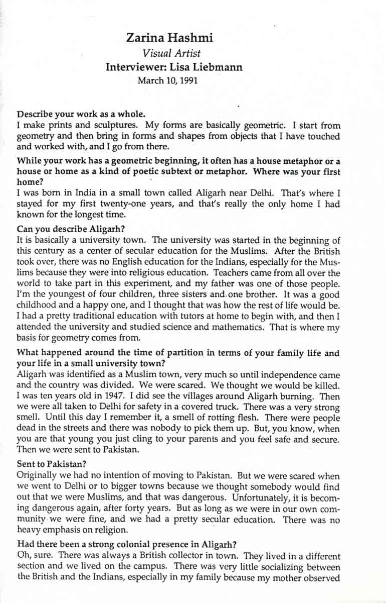 Zarina Hashmi interview, pg 1