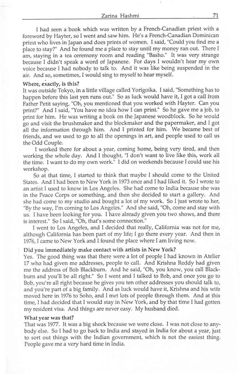 Zarina Hashmi interview, pg 9