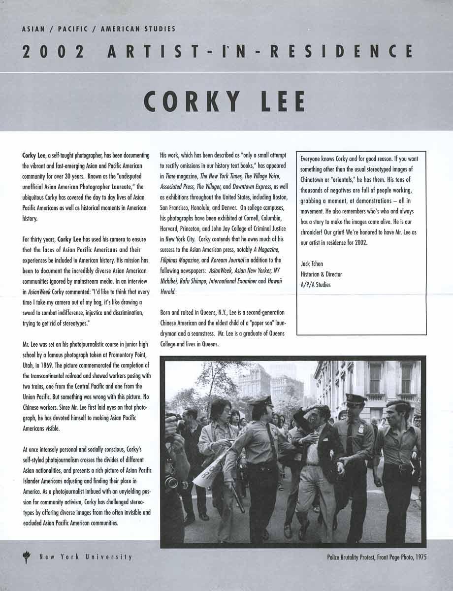 2002 Artist-In-Residence: Corky Lee, leaflet, pg 1