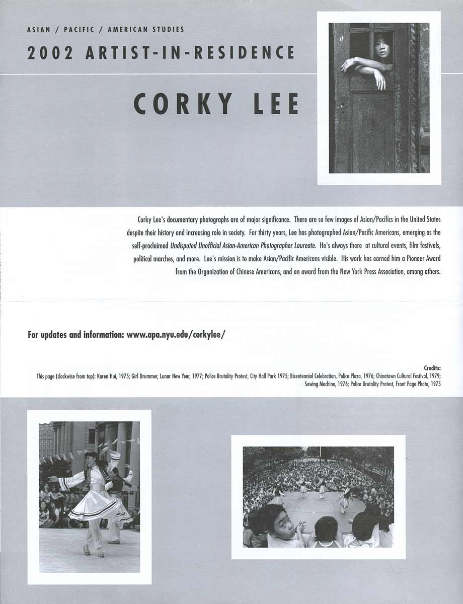 2002 Artist-In-Residence: Corky Lee, leaflet, pg 2