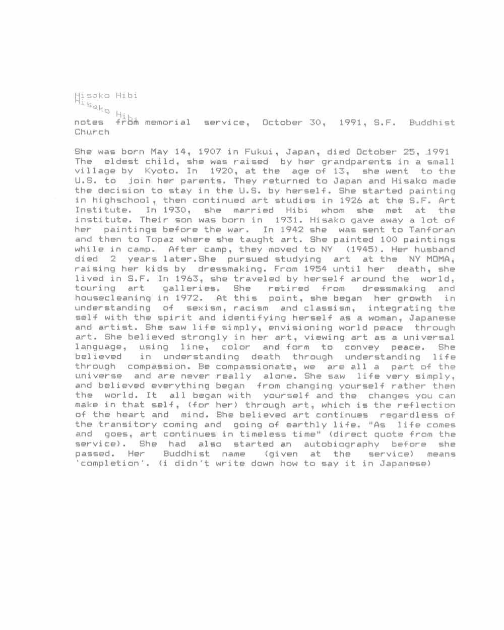 Norine Nishimura's notes for Hisako Hibi