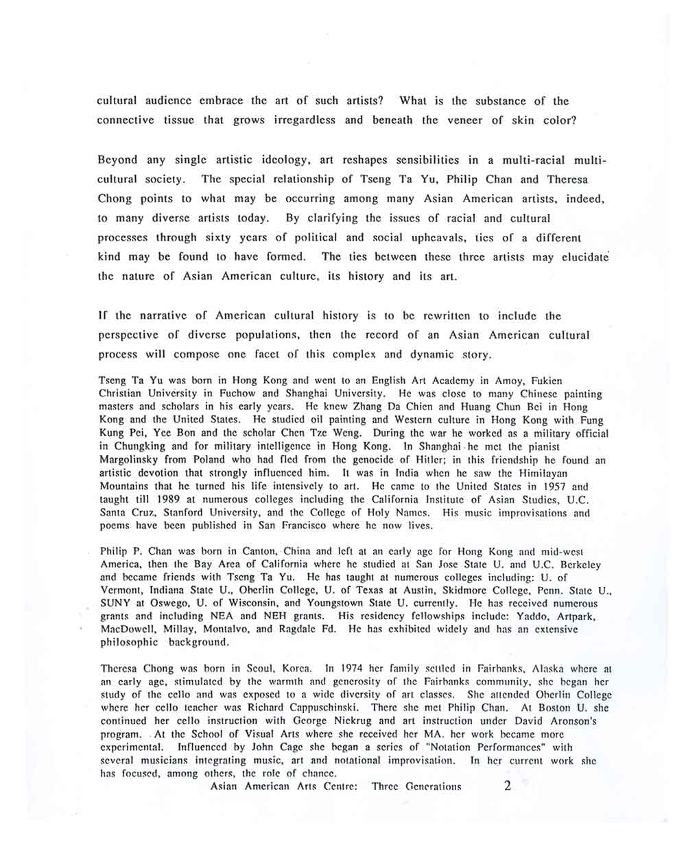 Three Generations press release, pg 2