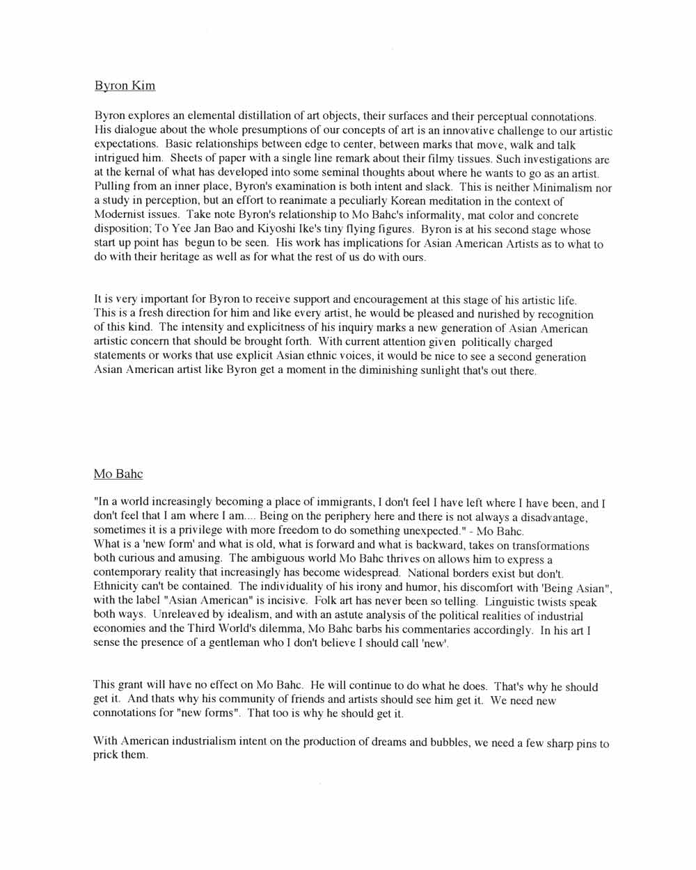 Proposal for Byron Kim, Wenda Gu, Mo Bahc, pg 2