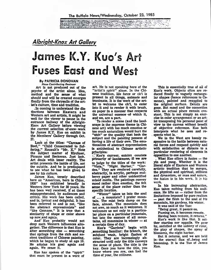 James K. Y. Kuo's Art Fuses East and West, article
