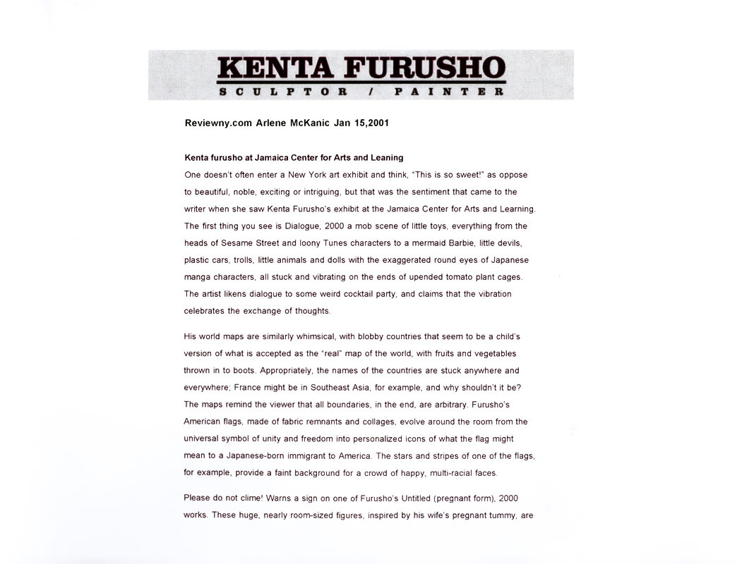 Kenta Furusho at Jamaica Center for Arts and Learning, reviewny.com, pg 1