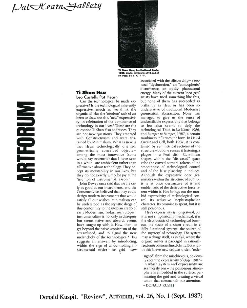 Tishan Hsu, article in Artforum